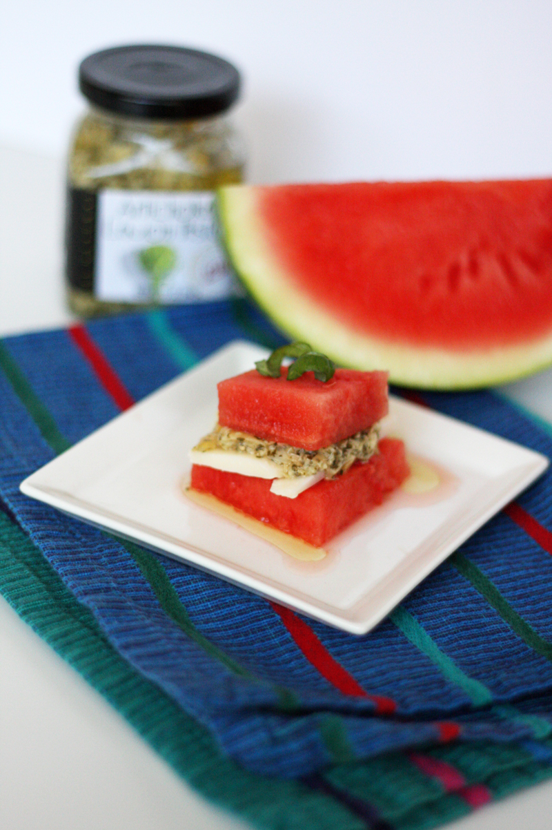 Recipe: Stacked Watermelon Pesto Bites | SavoryPantryBlog.com
