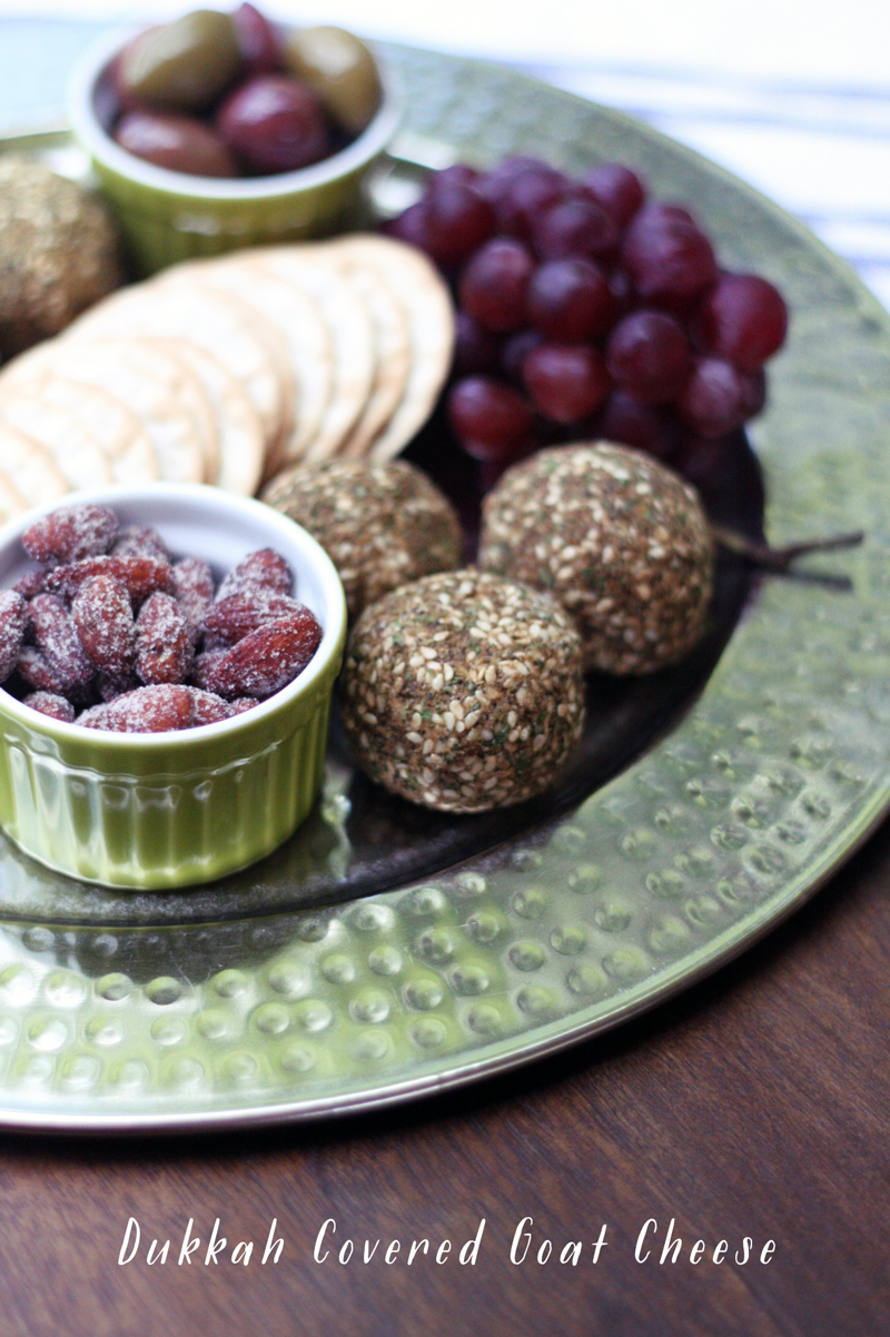 Dukkah Covered Goat Cheese Platter | SavoryPantryBlog.com