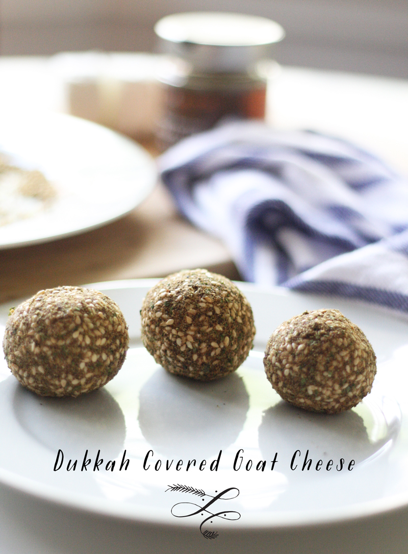 Dukkah Covered Goat Cheese | SavoryPantryBlog.com