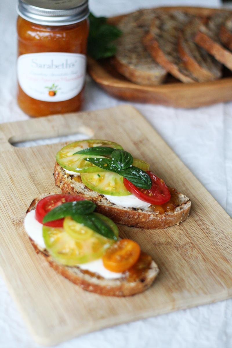Tomato, Fresh Mozzarella, and Orange Marmalade Sandwiches | SavoryPantryBlog.com