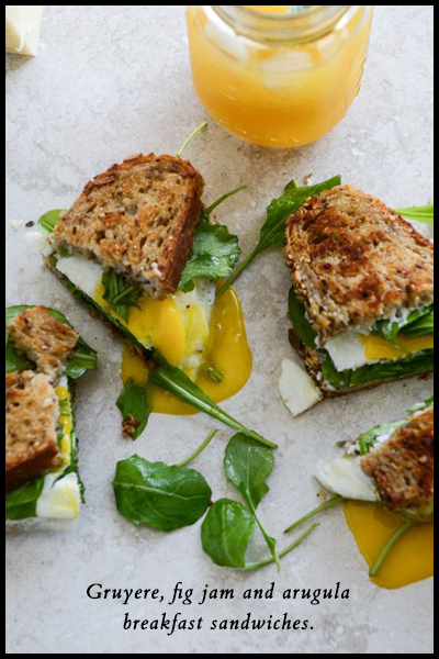 Roundup: Jam Sandwiches | Gruyere, fig jam and arugula breakfast sandwiches | SavoryPantryBlog.com