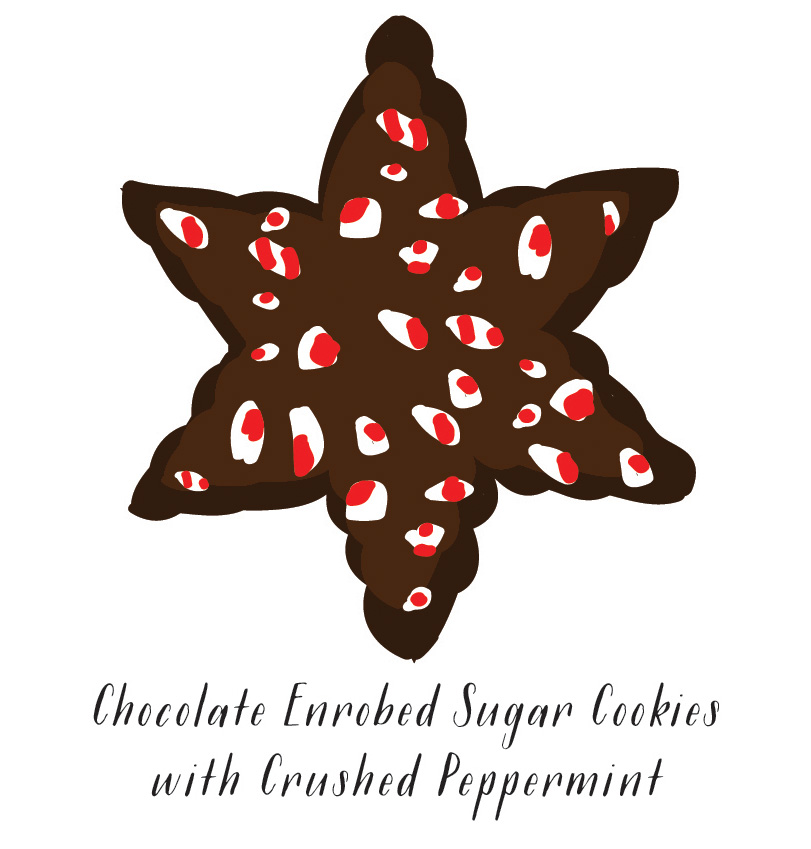 Chocolate Enrobed Moravian Sugar Cookies with Crushed Peppermint //  SavoryPantryBlog.com