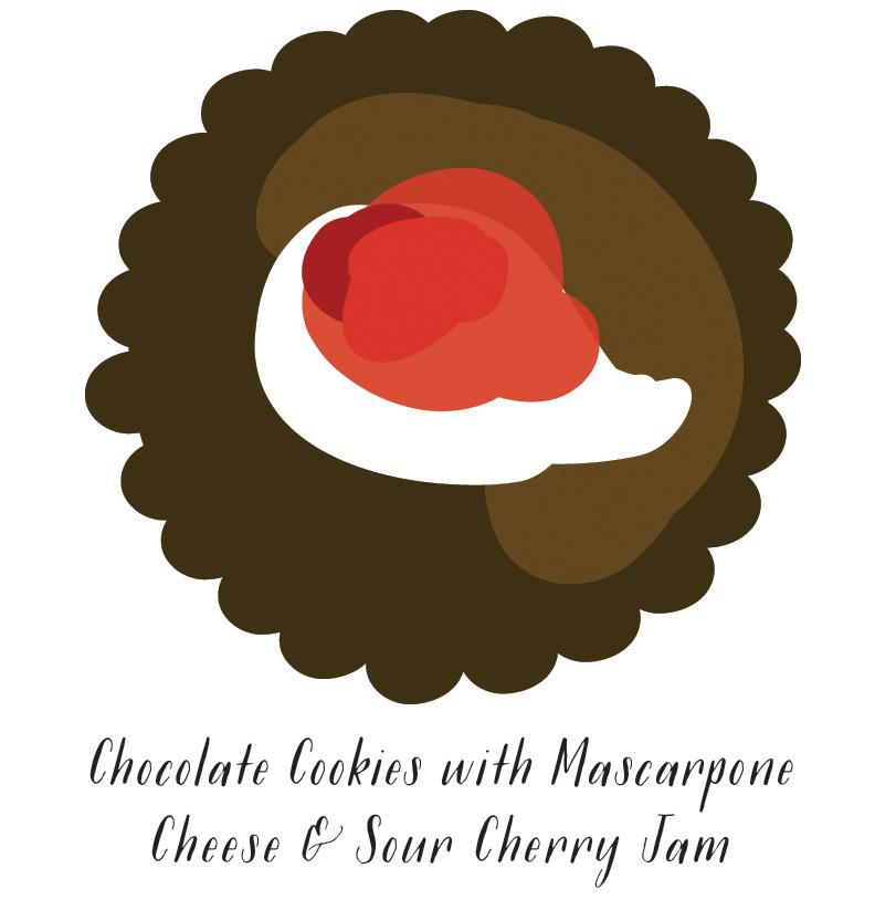 Chocolate Moravian Cookies with Mascarpone Cheese & Sour Cherry Jam  //  SavoryPantryBlog.com