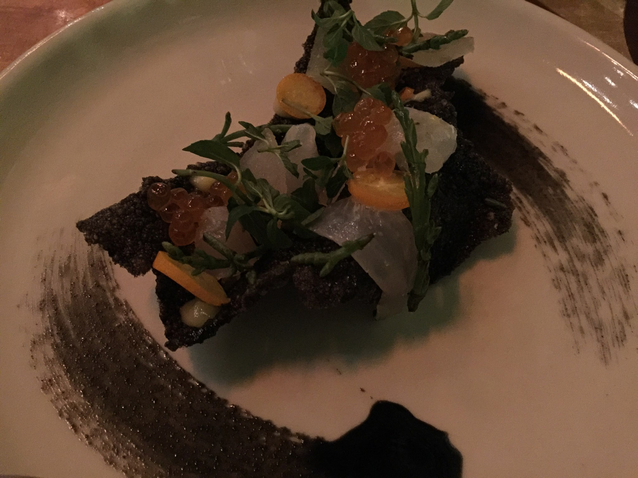 Fluke/Black Rice, Salmon Roe, Buddha's Hand