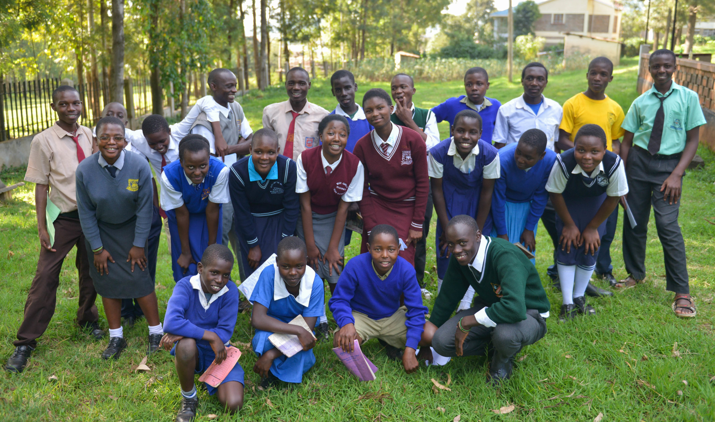 All of the students Ajiri sponsored in school in 2016, taken at the annual student field day.