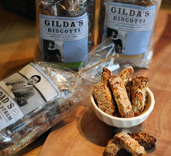 Gilda's Biscotti labels feature portrait images, based on family photographs