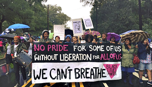 Black Lives Matter contingent of queer and trans* people of color disrupt the 2015 North Carolina Pride parade
