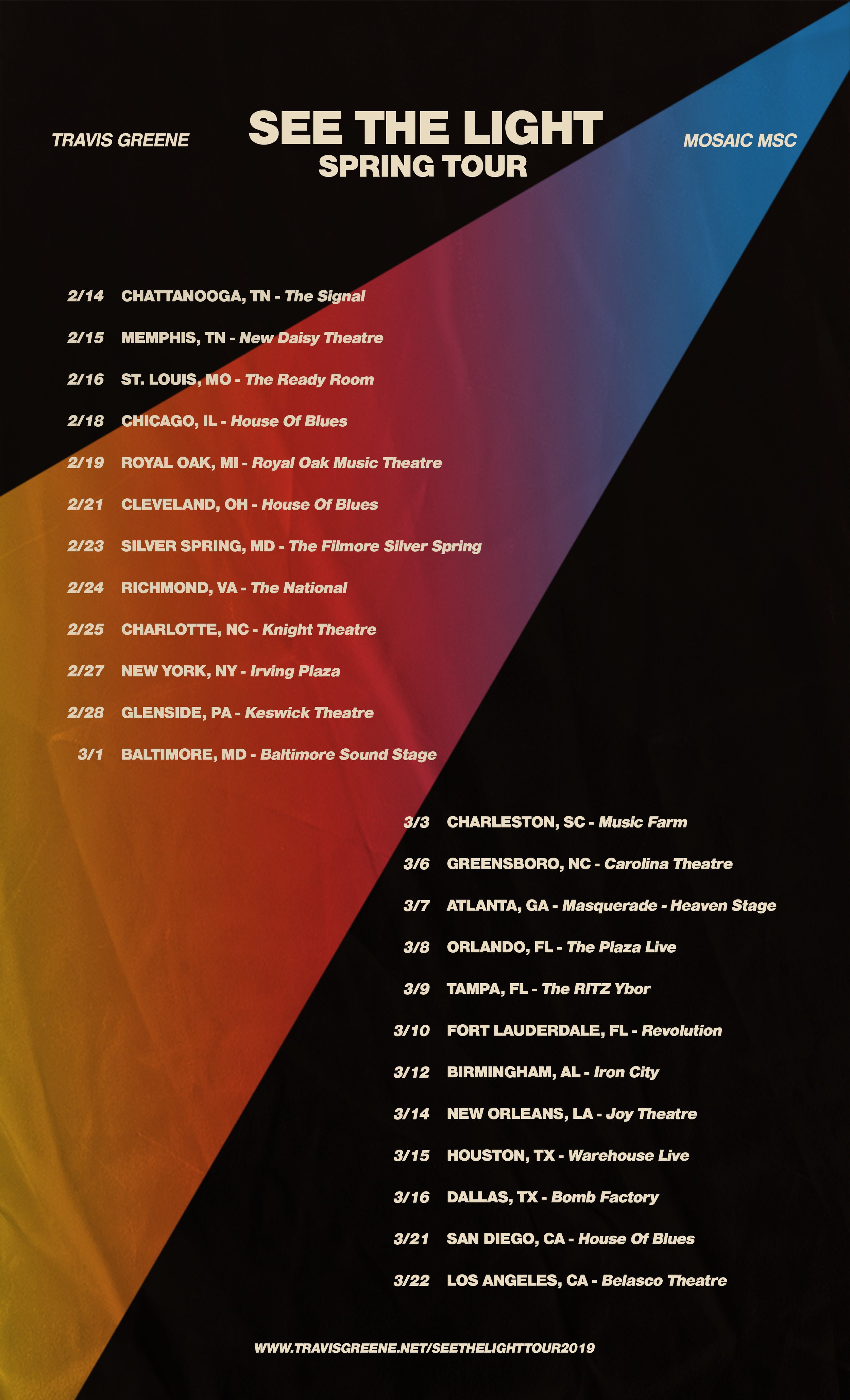 SEE THE LIGHT TOUR - TRAVIS GREENE & MOSAIC MSC