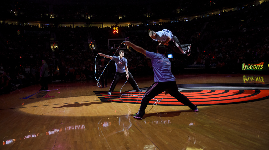 The  Electrick Jumpers  are one of the hottest acts traveling the sports world today and personally, my favorite halftime show.