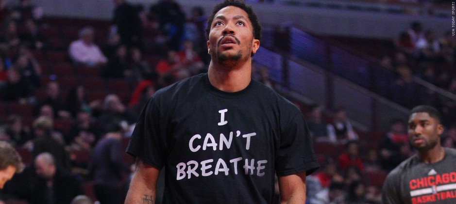 "Derrick Rose was the first athlete to don the ""I Can't Breathe"" t-shirt which started a national trend. (photo via SI.com)"