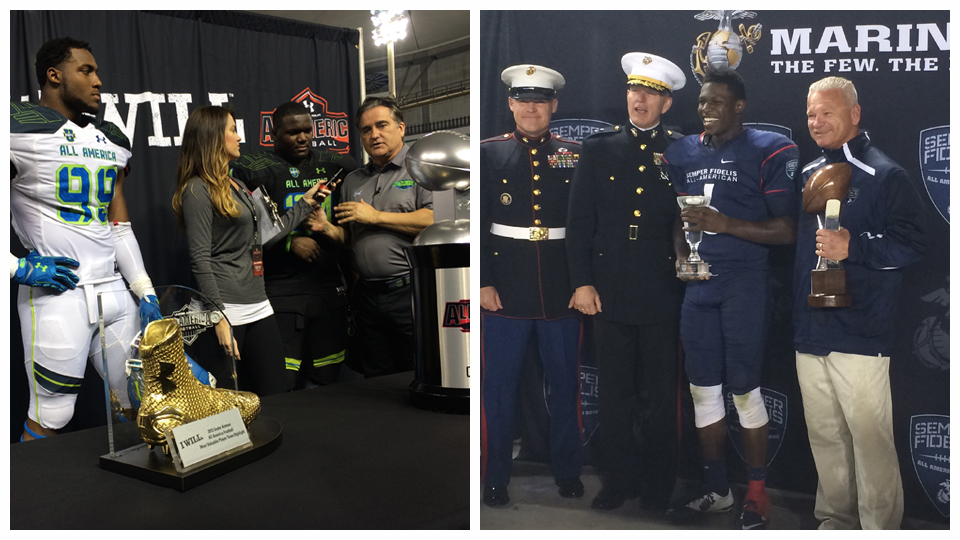 A look at the trophy presentations from the Under Armour All-America game ( left ) and Semper Fidelis All America Bowl ( right ).