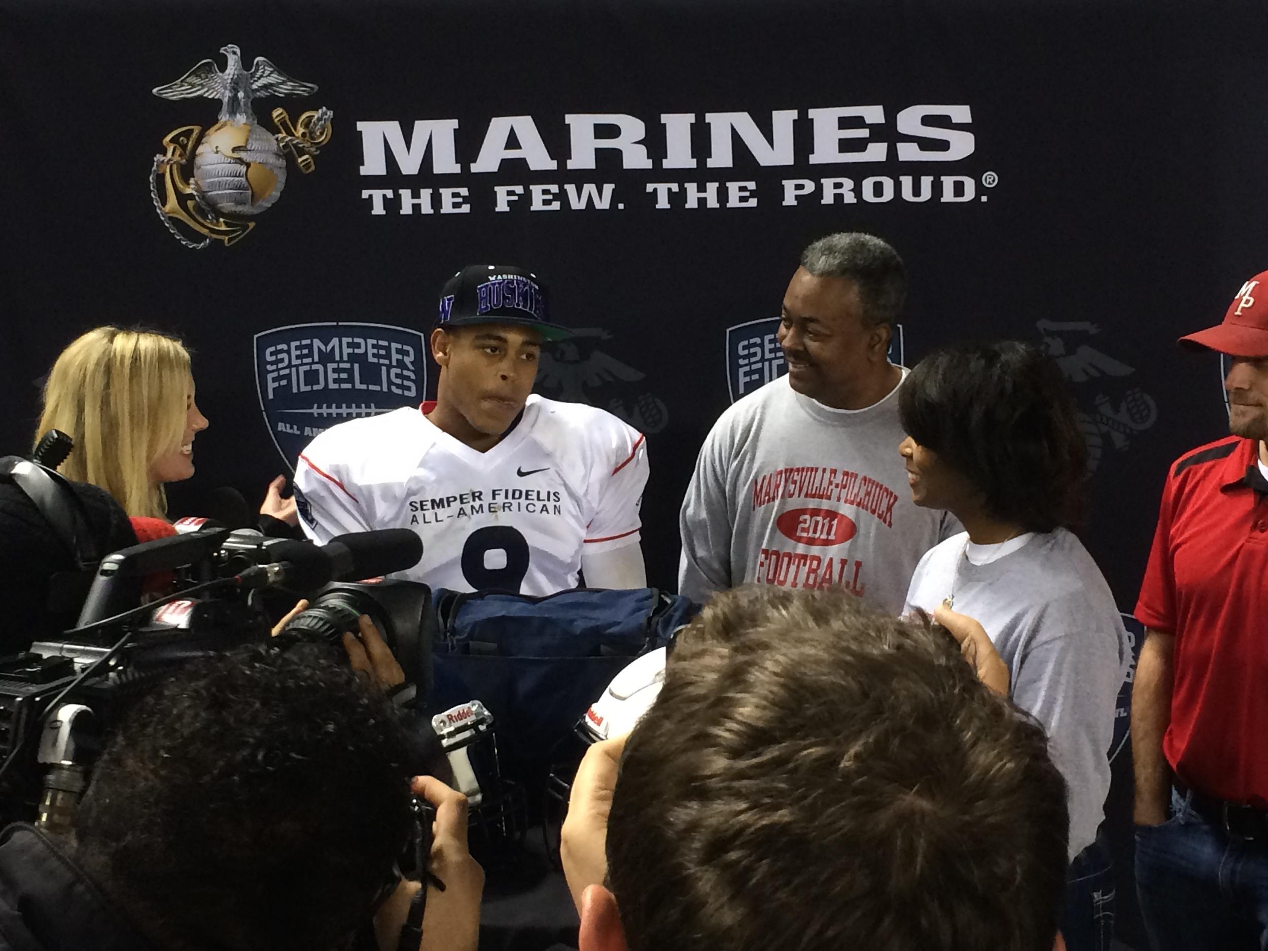 Star cornerback Austin Joyner committed to the University of Washington live on Fox Sports 1 duringthe Semper Fi Bowl.