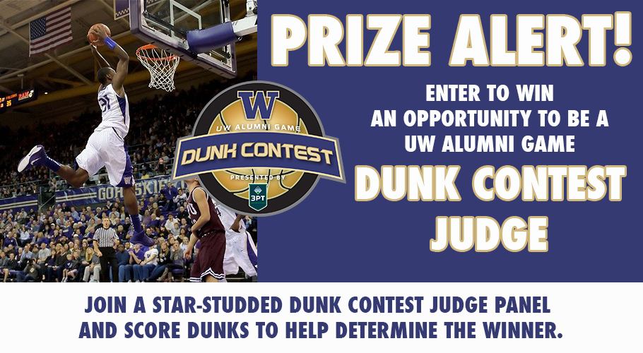 The graphic from the UW Alumni Game Dunk Contest Judge Fan Experience giveaway promoted on Facebook.