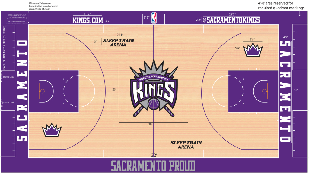 Example court diagram used by the  Sacramento Kings  stage managers.