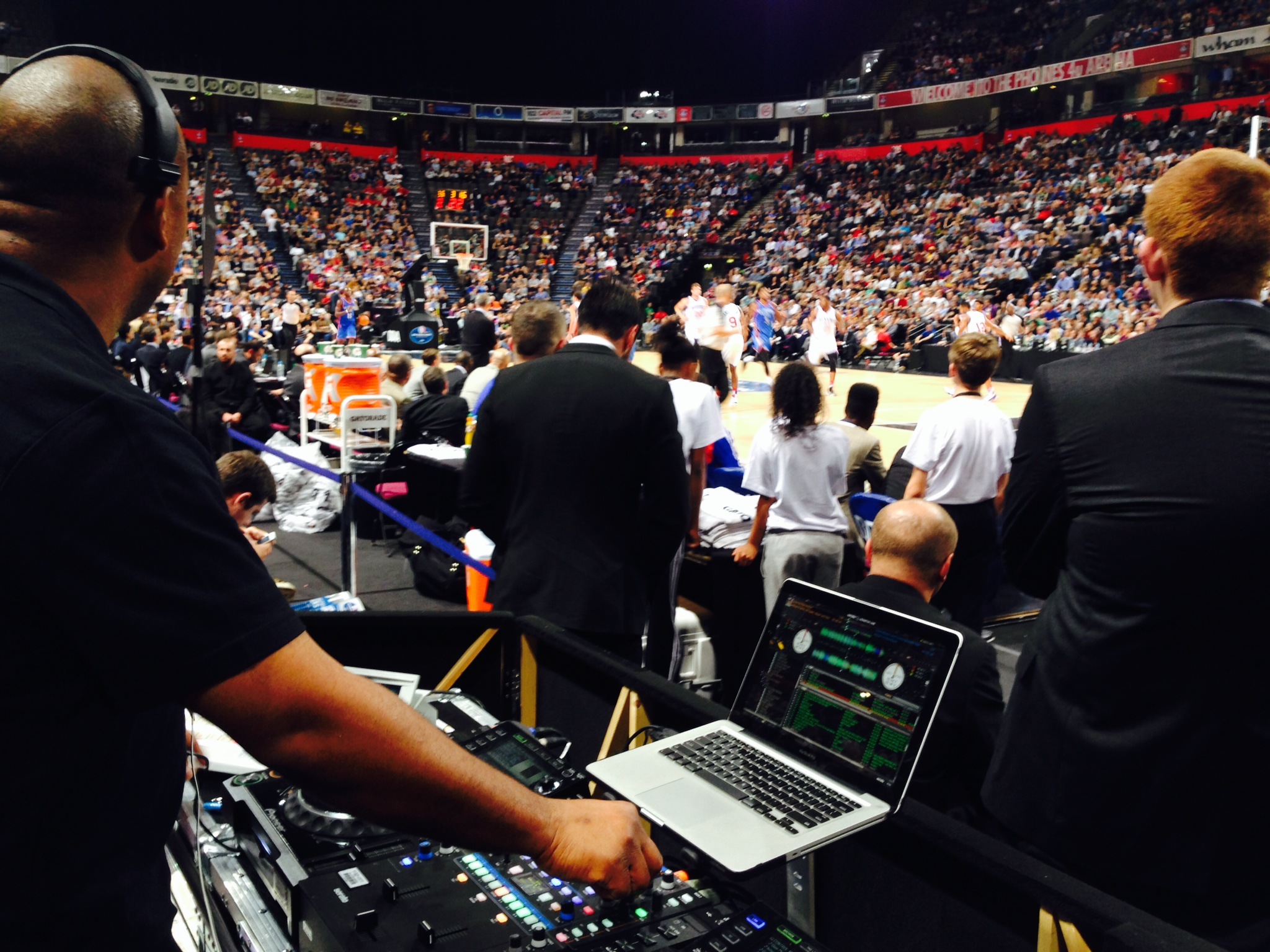 DJ M.I.L in action during a NBA Global Games event.