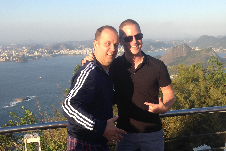 Jon Cudo (left) and Patrick Walker (right) inRio De Janeiro as part of 2014 NBA Global Games.
