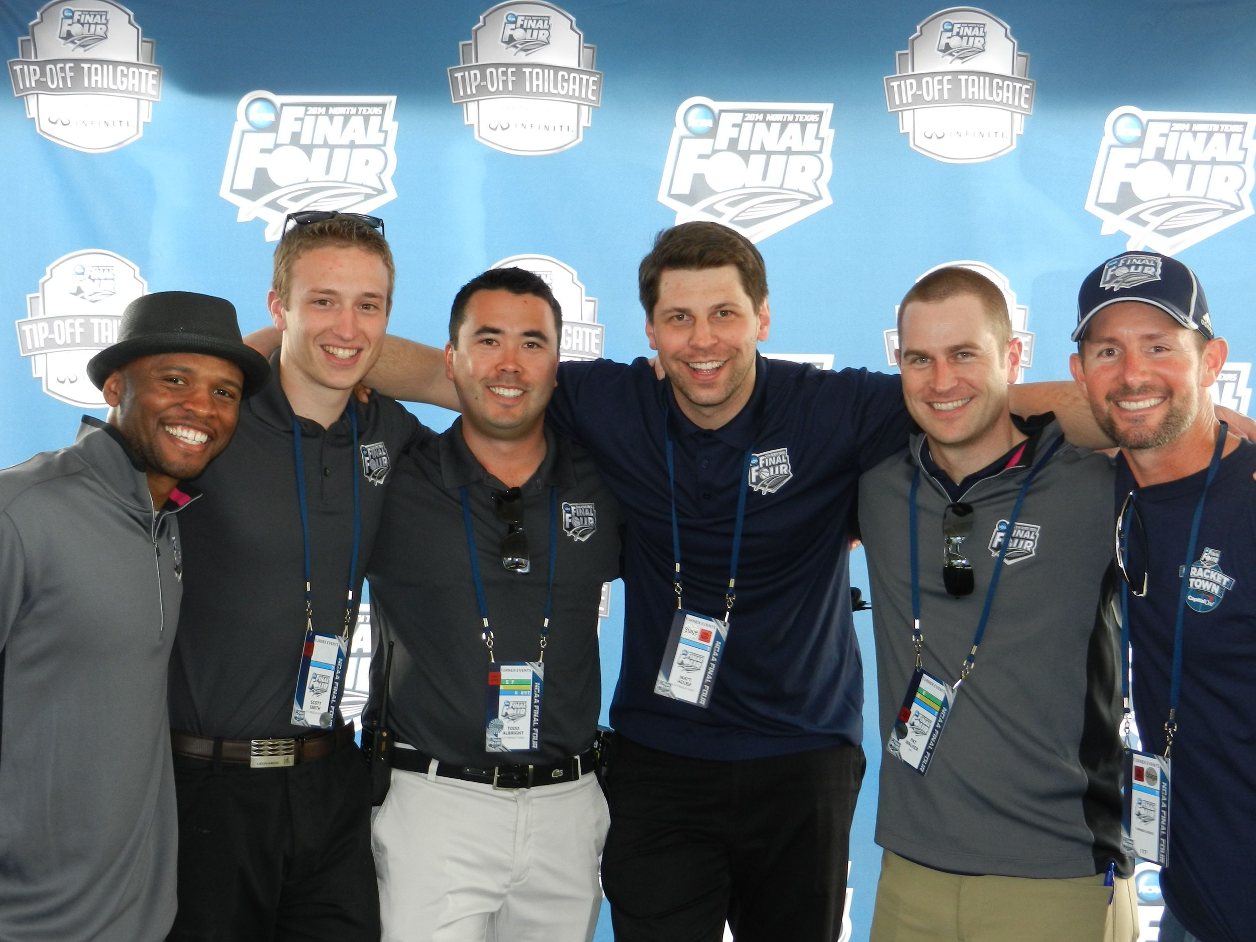 Ro (far left) with 3PT staff following the 2014 Tip-Off Tailgate at the Final Four in North Texas.