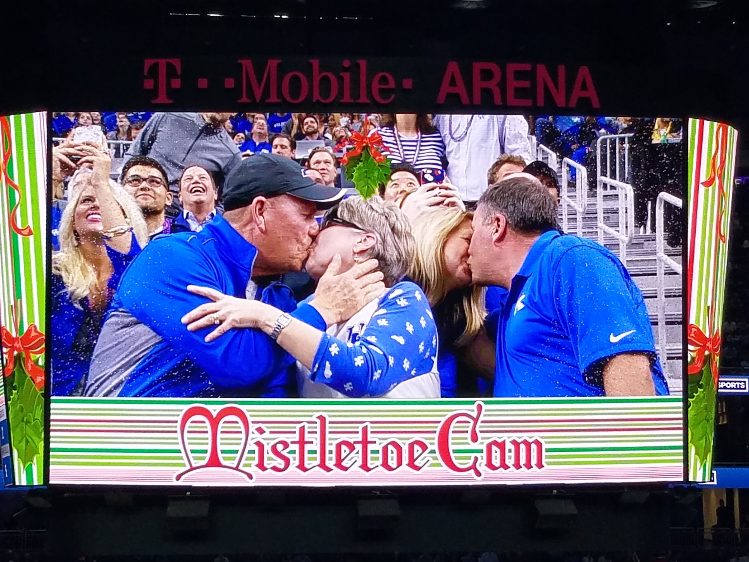 The Mistletoe Cam is a great holiday twist on a traditional Kiss Cam. We featured it once during each game to highly spirited crowds.