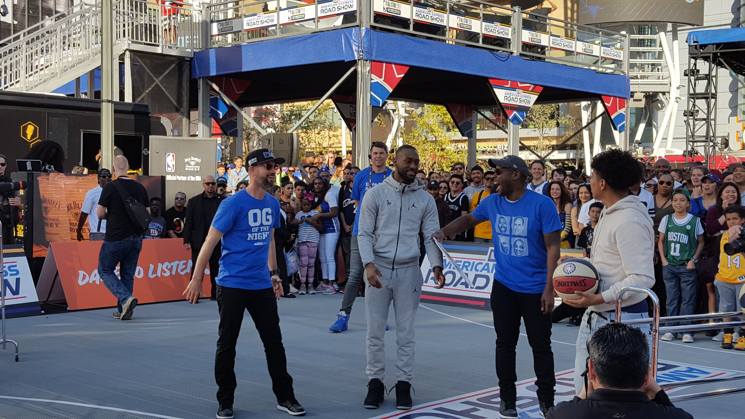 NBA All-Star, Kemba Walker, participating in fan contests at the NBA on TNT Roadshow at NBA All Star 2018 alongside our emcees, Scotty B & Wil.