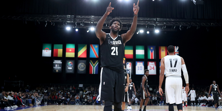 Joel Embiid lead a star studded NBA cast featured in the NBA vs. WORLD exhibition hosted in Africa. (Getty Images/NBA)