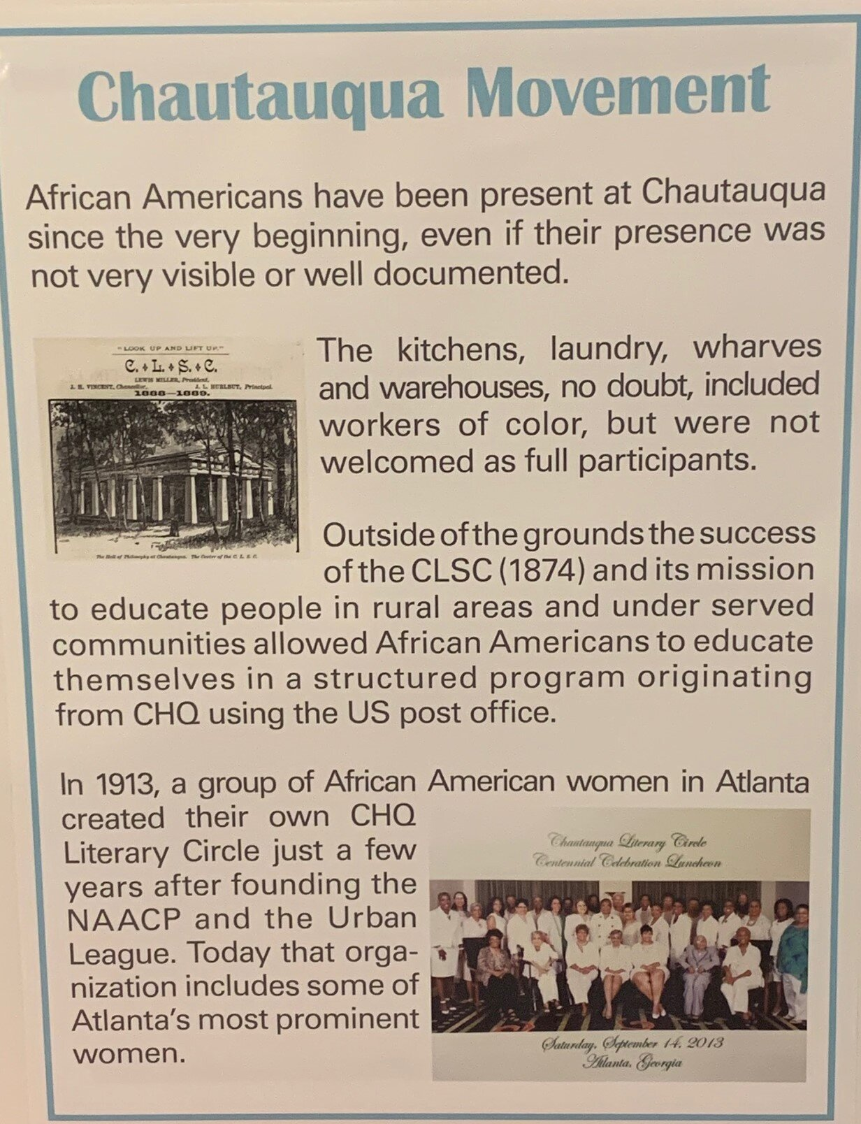 AFRICAN AMERICANS AT CHQ