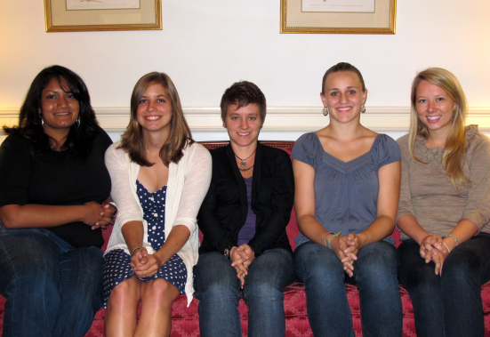 2010-2011 Volunteers Left to right:Sabrina Vasa, Allison Young, Lindsay Wallace, Kirsten Wittkowski, Chloe Sidley