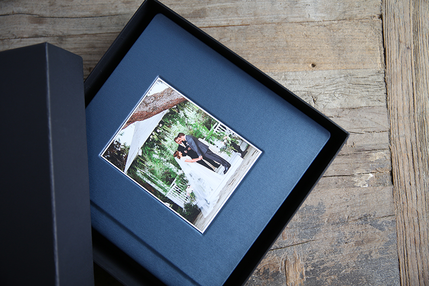 Albums come standard with a recessed image from your wedding.