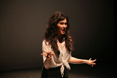 Photo of Nicole performing in Mecca Andrew's  Molly Maps Erratic  at REDCAT's NOW Festival 2013