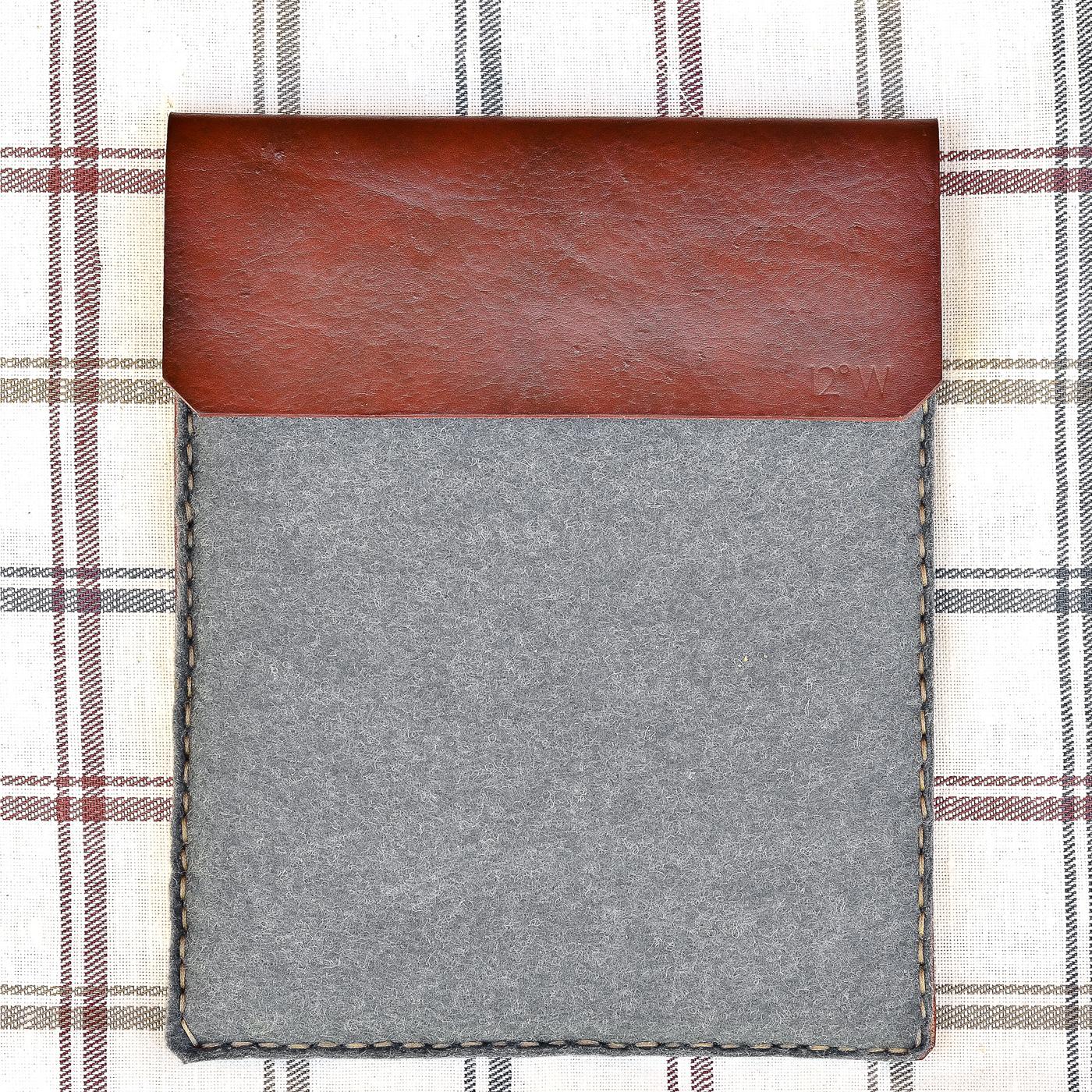 Wool Felt & Leather iPad Sleeve