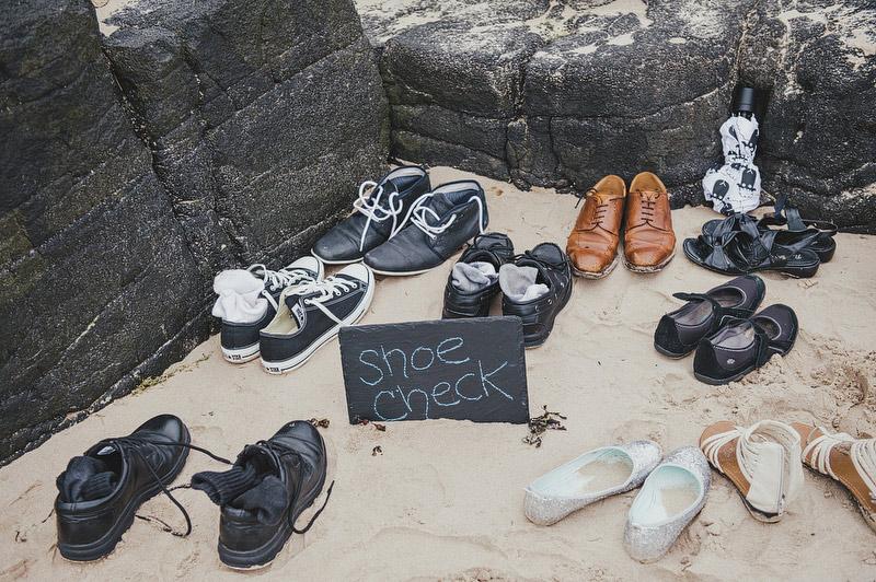 shoe check beach wedding
