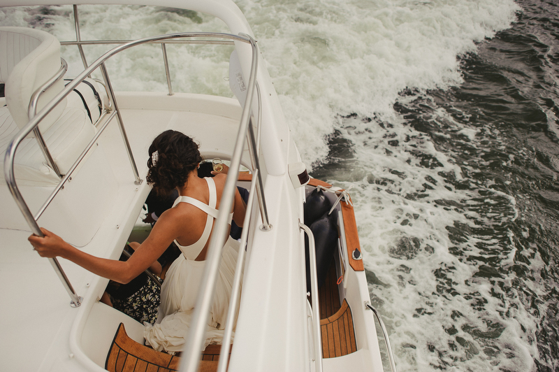 bride boat cruise wedding