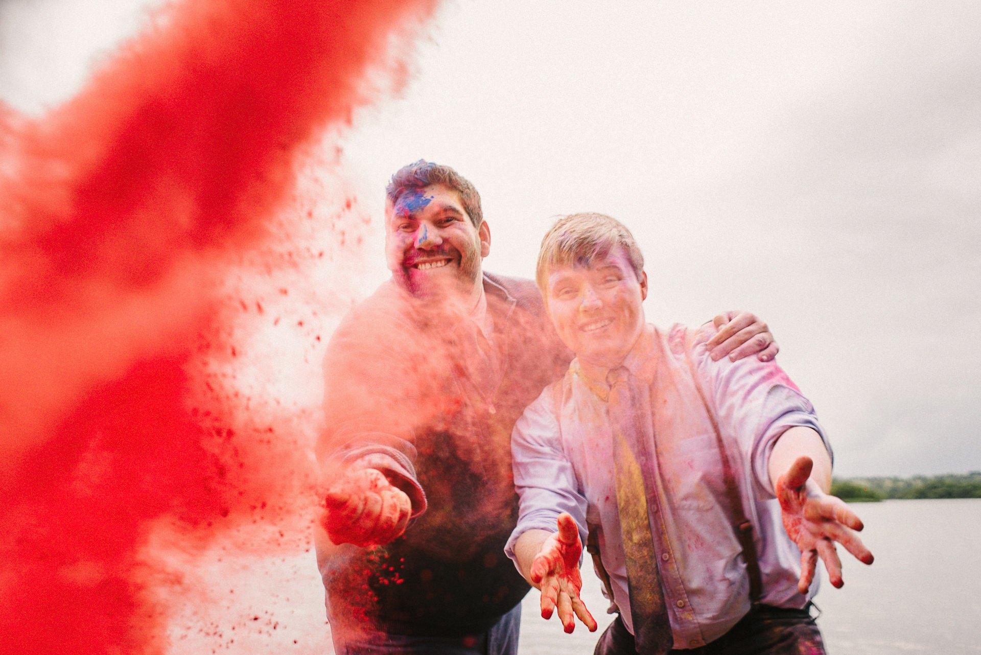 paint bombing ireland wedding