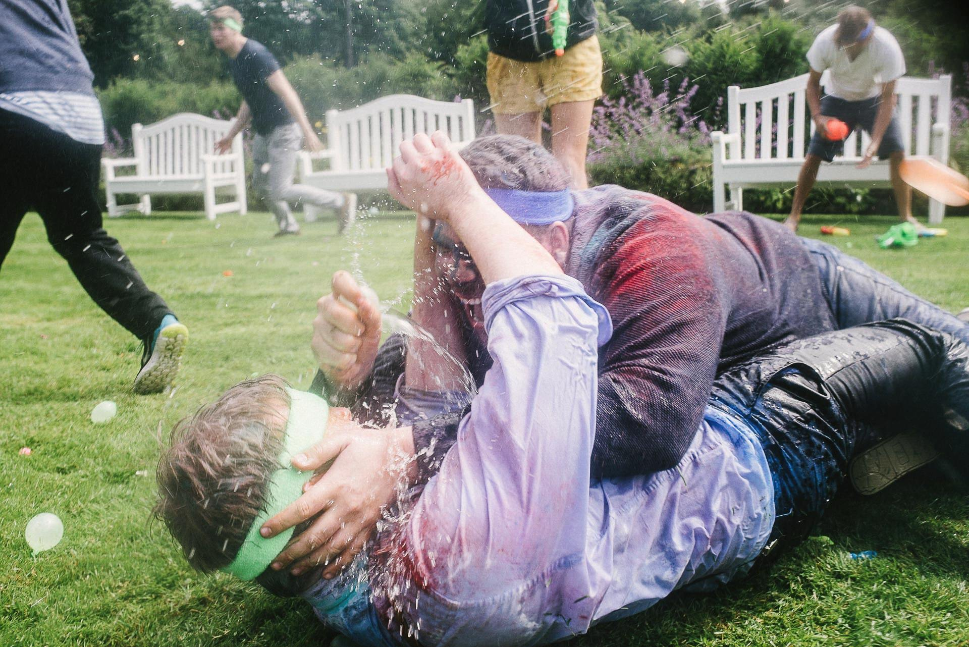 wedding water fight