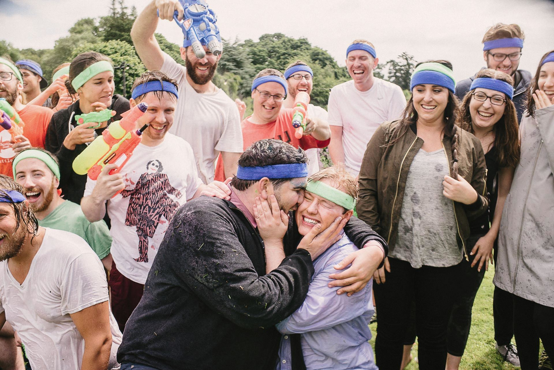 pre wedding water fight with guests
