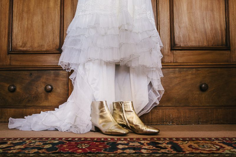 brides gold boots wedding