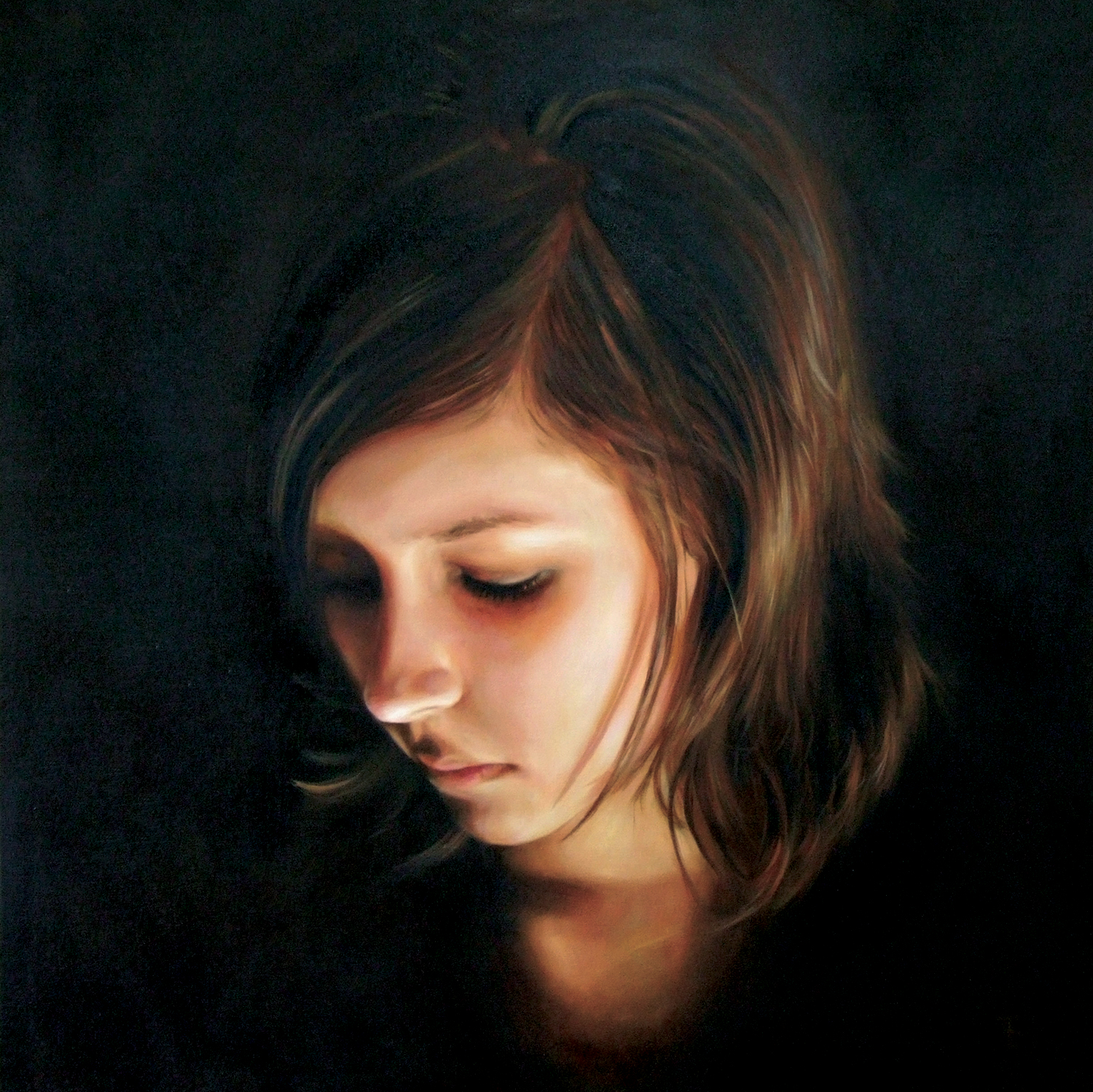 """Chloe  Oil on Linen, 40"""" x 40"""", Private Collection"""