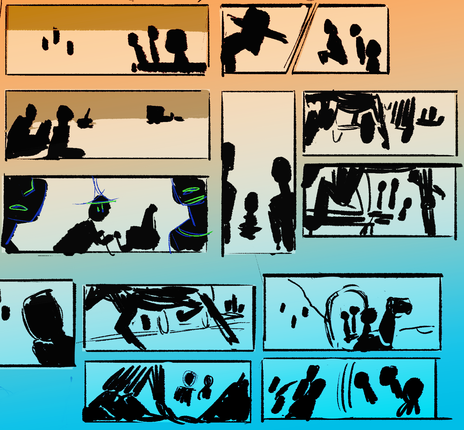 Thumbnails Unlocking Layouts - Comic layouts can be the visual communication equivalent of poetry. Composition and panelling when combined can provide us, the reader with a sense of both Time and Space.Comics layouts can and will hit us on an emotional level. The question is, how?