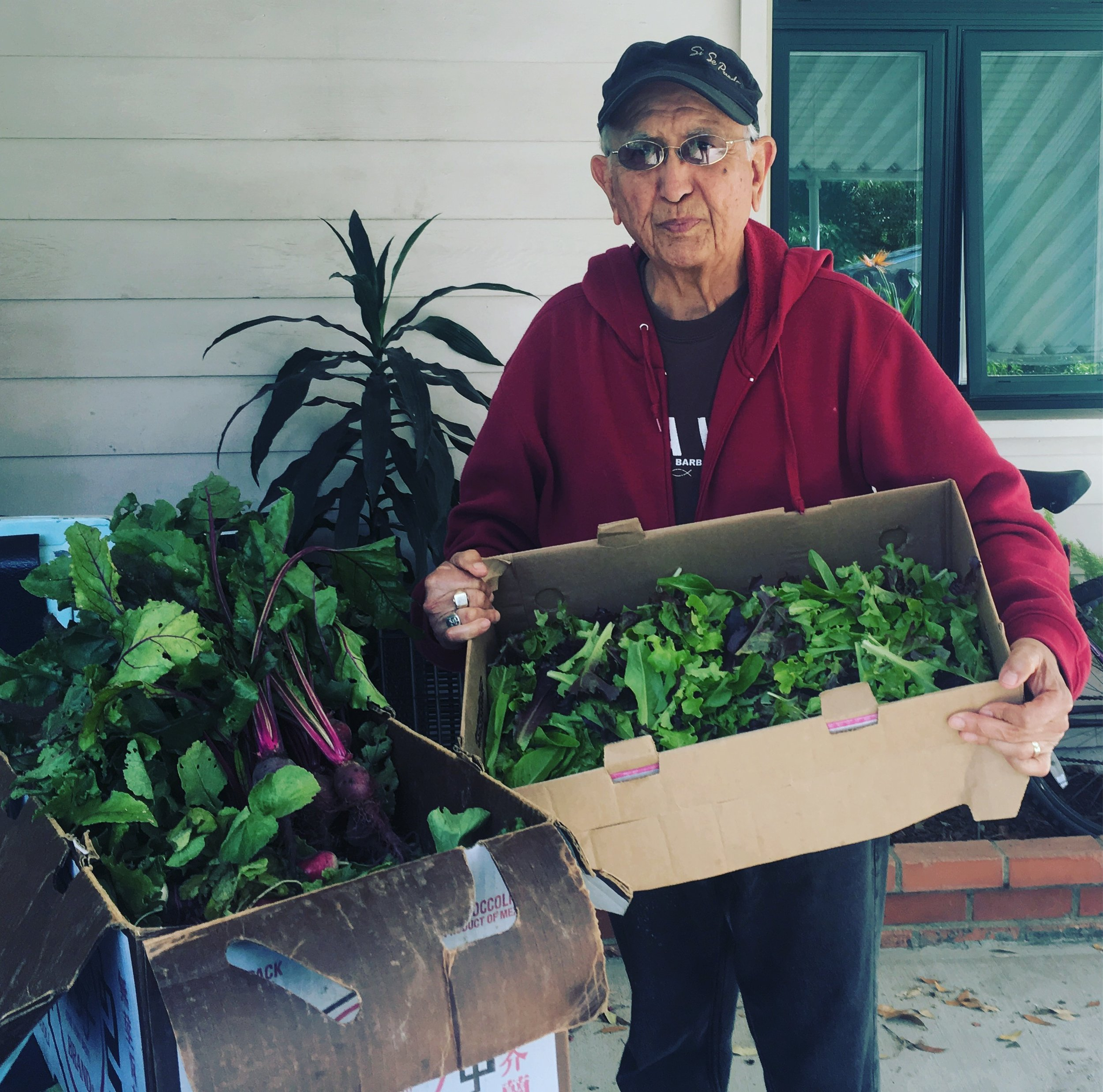 Gilberto delivers food every other Wednesday so we share from our harvest so he can deliver fresh veggies too.