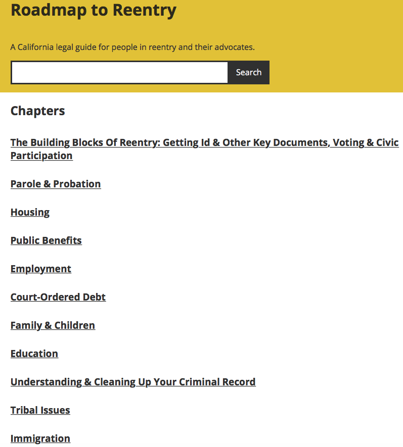 Search the Reentry Legal Guide -