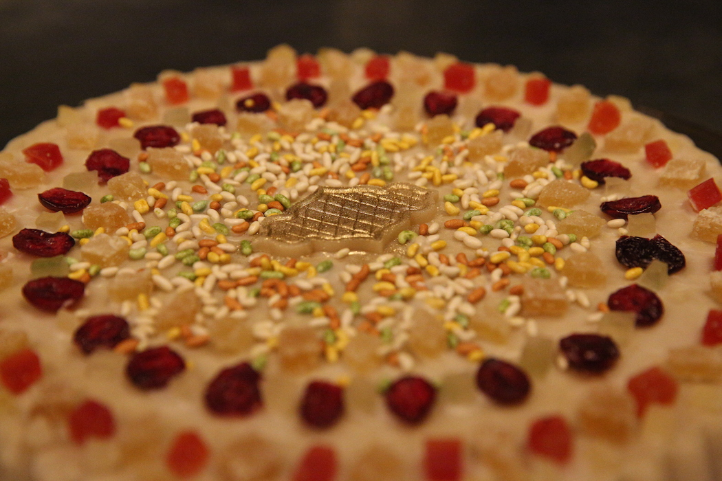 Fancy cake with sprinkles.JPG