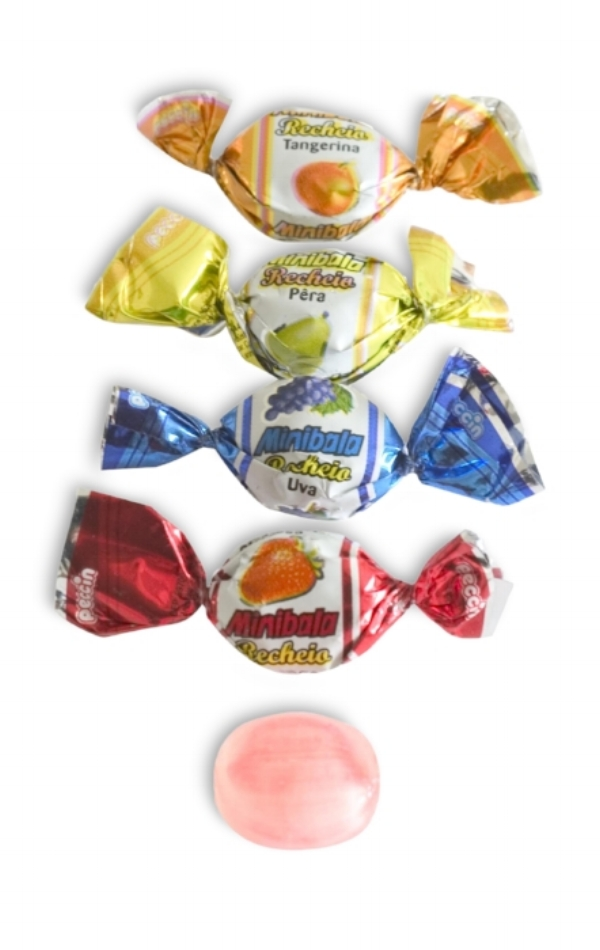 Minibala - Mini hard candies with a soft, real fruit centre (3000) per case,  Also available in Mint Chocolate and Ouzo,