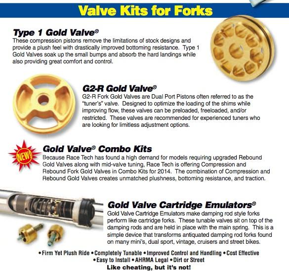 Fork Compression Gold Valves and Emulators $170-180