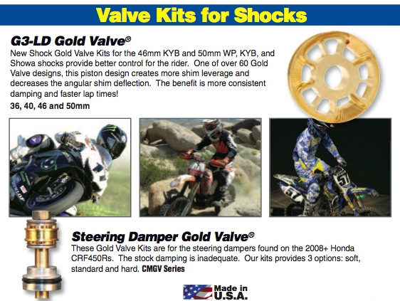 Shock Gold Valves $180    Steering Dampner Gold Valve $100