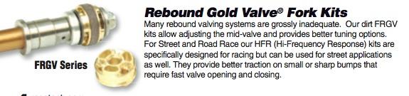 Fork Rebound Gold Valve $170