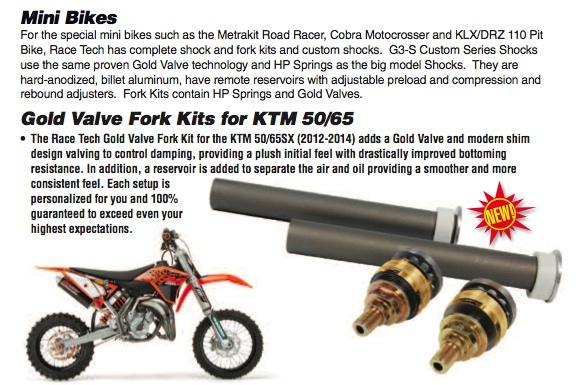 KTM 50/65 Gold Valve Fork Kit $350