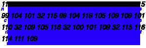 ASCII to decimal conversion of slogan
