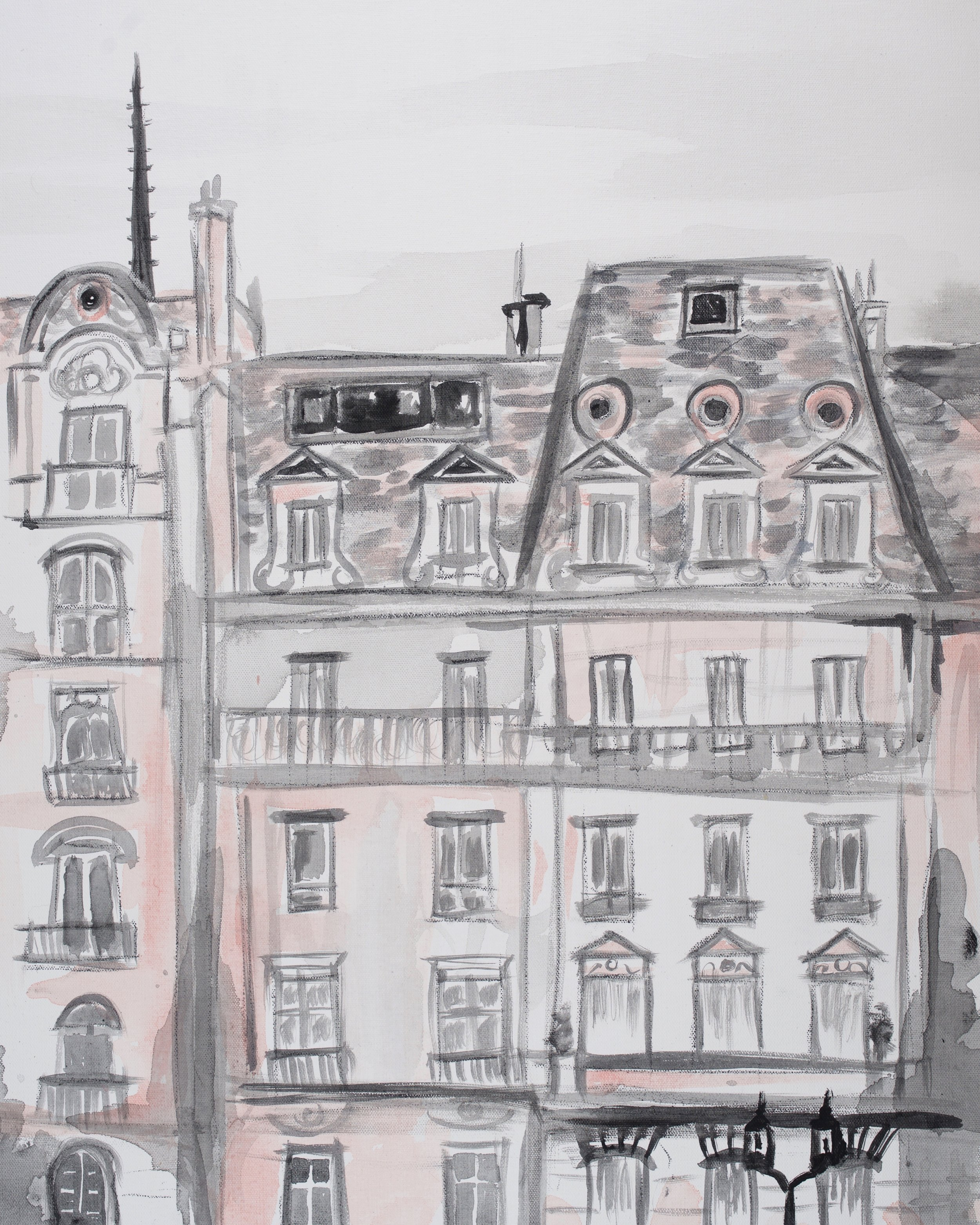 Pink Paris Buildings, art prints