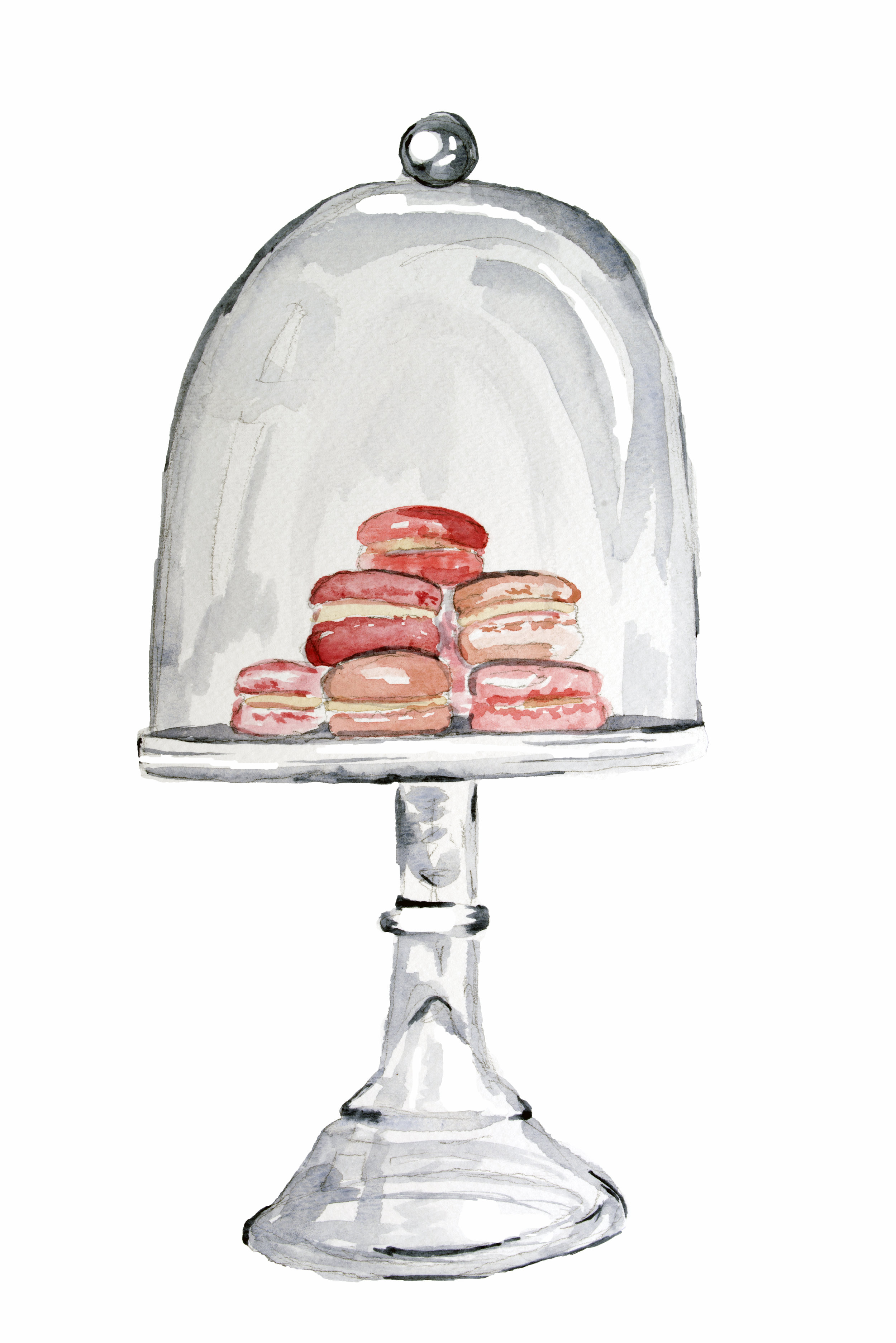 Macarons, limited edition watercolor print