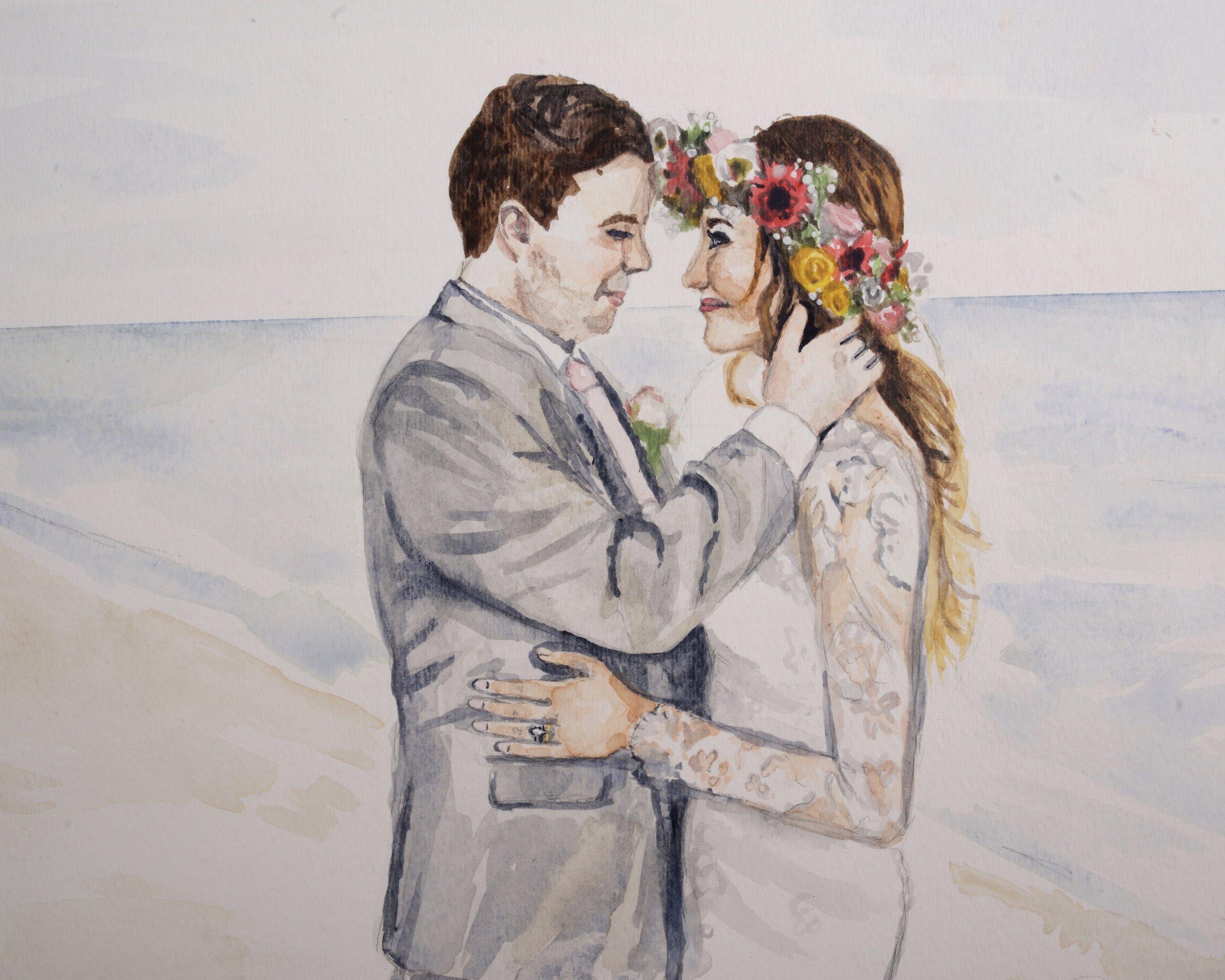 Watercolor Wedding Portrait, custom painting