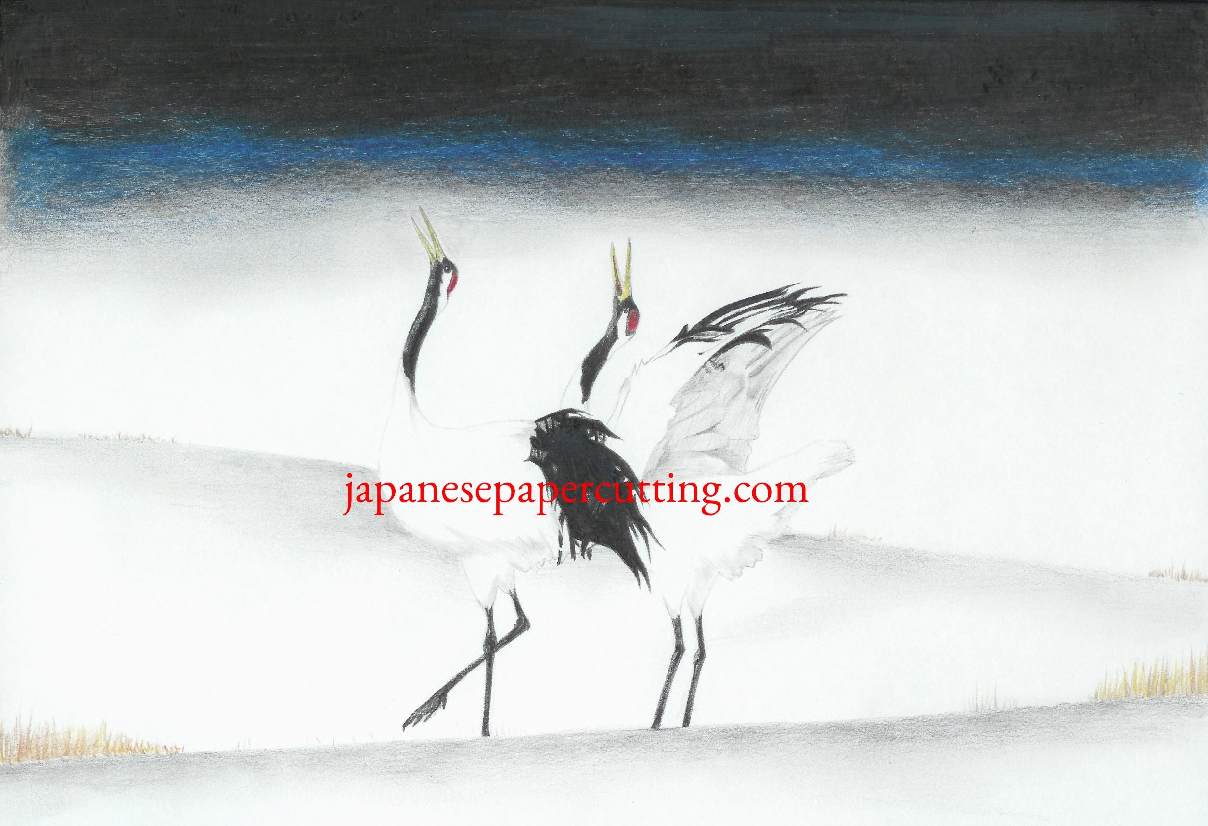 White Cranes   Pencil & Pencil Crayon   2004